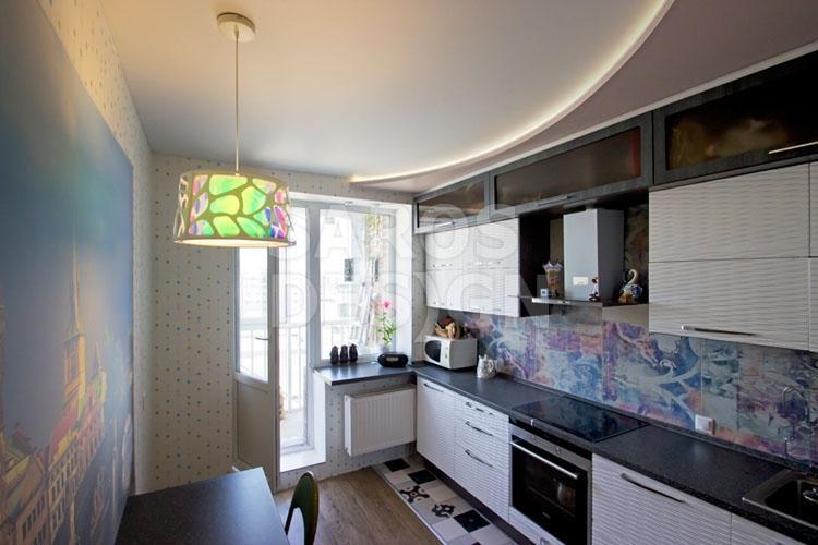 натяжной потолок в кухне дизайн фото